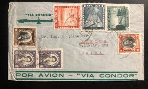 1936 Los Andes Chile Airmail Cover to Zurich switzerland Via condor