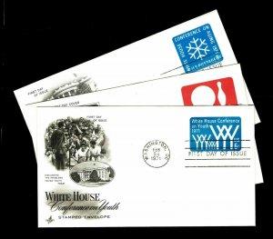 US #U555, U563-64 Postal Stationery First Day Covers - Courtesy Listg (ESP#015)