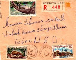 Ivory Coast 10F Pygmy Hippopotamus, 30F Abidjan Railroad Station, and 100F Li...