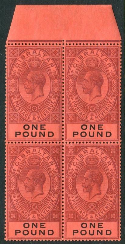 GIBRALTAR-1912-24 £1 Dull Purple & Black/Red lightly mounted mint block Sg 85
