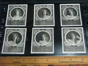 Mary Deba Portraits French Dancer Belle Époque Poster Stamps Set of 6 See Pics