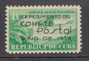 Cuba Sc C31 MLH. 1939 10c emerald with black EXPERIMENTO overprint, fresh, VLH