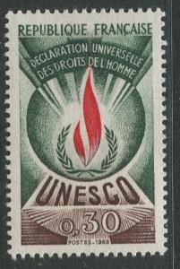 France Unesco - Scott 209 - Unesco Issue -1969 - MLH - Single 30c Stamp