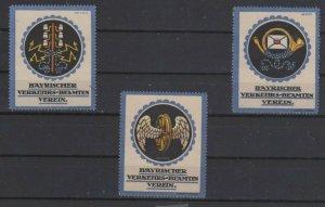 Germany- Lot of 3 Bavarian Traffic Officials Association Stamps, Artist HENEL