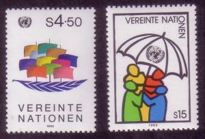 UN Vienna Sc# 50 / 51 Peace & Umbrella Type MNH