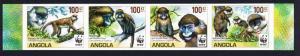 Angola WWF Monkeys Guenons 4v imperforated strip