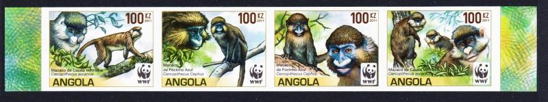 Angola WWF Monkeys Guenons 4v imperforated strip