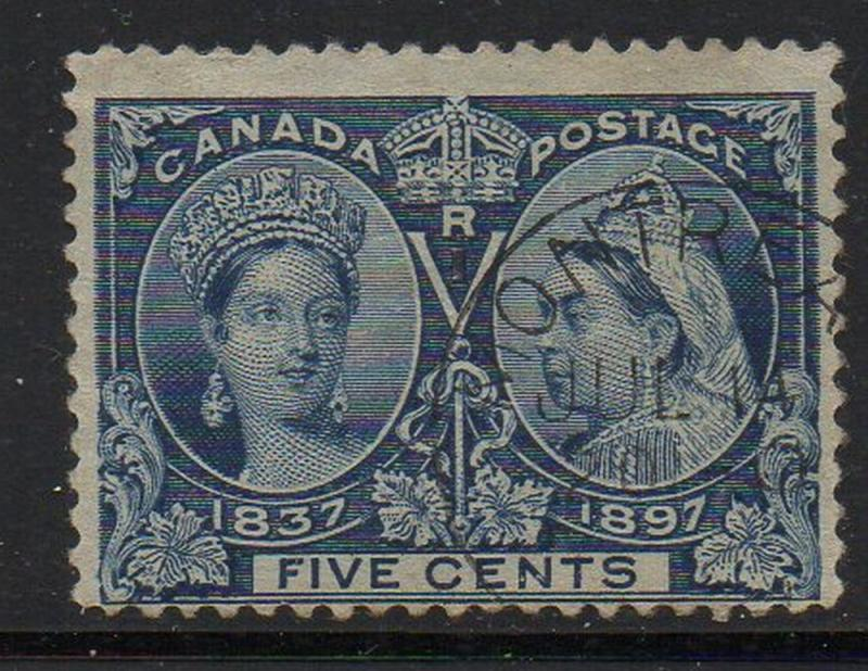 Canada Sc 54 1897 5c deep blue Victoria Jubilee stamp used