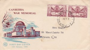 AFD621) Australia 1958 Canberra War Memorial Blue and Maroon cachet WCS FDC