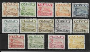 NAURU SG26Bc/39B 1937-48 DEFINITIVE SET ON WHITE PAPER USED