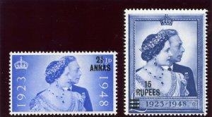 Oman 1948 KGVI Silver Wedding set complete superb MNH. SG 25-26. Sc 25-26.