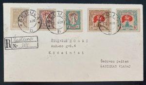 1920 Seduva Lithuania Registered cover To Kedainiai Sc#76-80