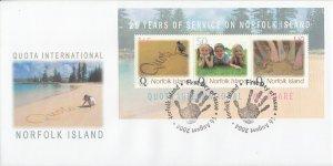 Norfolk Island 2004 FDC Sc #822 Souvenir sheet of 3 Quota International 25th ...