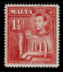 MALTA GVI SG220, 1½d scarlet, NH MINT.