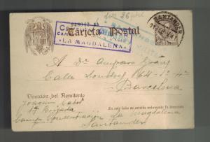 1939 Santander Spain La Magdalena Concentration camp Postcard cover to Barcelona