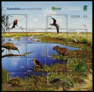 HERRICKSTAMP NEW ISSUES URUGUAY Sc.# 2514 Fauna Sheetlet (Birds, Snake, Etc.)