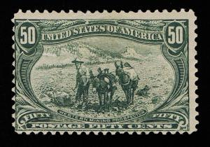 GENUINE SCOTT #291 MINT OG 1898 TRANS-MISS EXPO ISSUE 50¢ SAGE GREEN ESTATE SALE