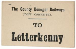 (I.B) County Donegal Railways Joint Committee : Parcel Label (Letterkenny)