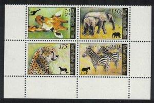 Neth. Antilles Elephant Giraffe Zebra Cheetah African Fauna Block of 4