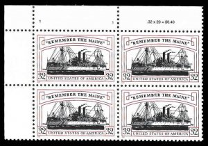 PCBstamps    US #3192 PB $1.28(4x32c)Remember/Maine, MNH, (PB-1a)