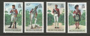 Montserrat MNH sc# 401-4 Uniforms Rifles CV $2.25