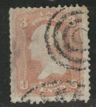 USA Scott 65 stamp,target canceled small thin at left