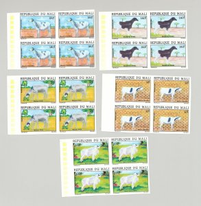Mali #433-437 Animals, Goats 5v Imperf Blocks of 4