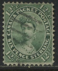 Canada 1859 12 1/2 cents green a nice clean used copy