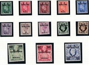 TRIPOLITANIA  1950  S G T14 - T26  SET OF 13  MH CAT £140
