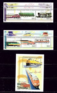 Comoro Is 941-43 MNH 1999 Locomotives 2 sheets and S/S