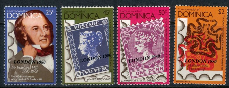 Dominica #663A-D* NH CV $3.00 Rowland Hill stamp-on-stamp set complete