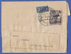 GERMANY French Zone RHEINLAND PFALZ Sc 6N31  4pf on Wrapper + 2pf  Tax Stamp