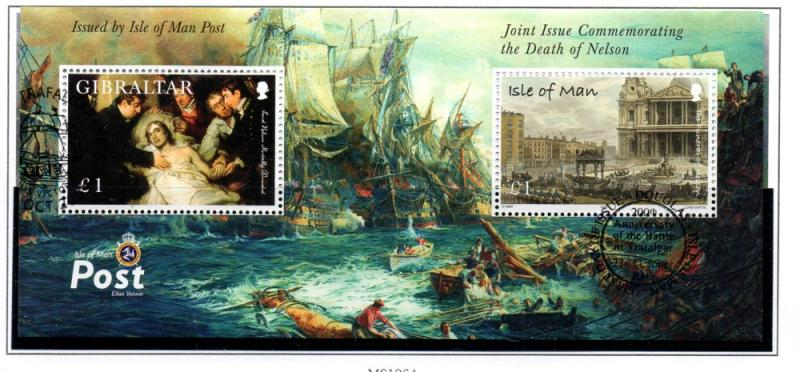 Isle of Man  Sc 1127 2005 Death of Nelson stamp sheet used