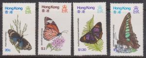 Hong Kong - 1979 Butterflies VF-NH #354-357