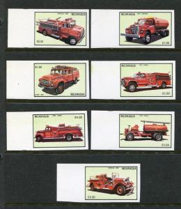 Nicaragua MNH IMPPERFORATES SET ONLY 40 SETS EXIST 1983 Fire Trucks RARE. x29975