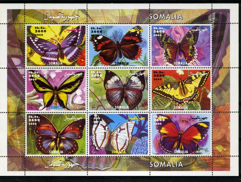 Somalia 2000 BUTTERFLIES Sheet (9) Perforated mnh.vf