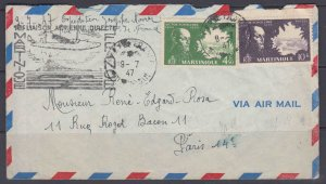 Martinique 212 & 214 on first flight cover from Martinique to Paris, 1947