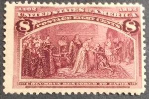 U.S.#236 Columbus 8c Single MNH. 'F' #1/3