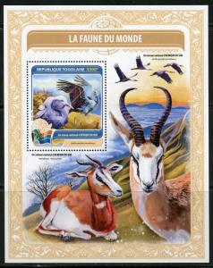 TOGO  2016 FAUNE OF THE WORLD SOUTH AFRICA  SOUVENIR  SHEET MINT NH