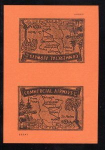 Commercial Airways Ltd., Unadopted Tete-beche, imperforate, Essay