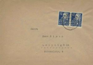 Germany Soviet Zone 12pf Engels Imperforate Pair 1949 Leipzig N 24 Local use....