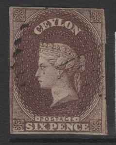 CEYLON SG6a 1859 6d BROWN FINE USED