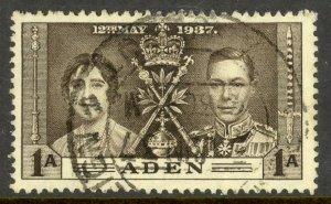 ADEN 1937 1a KGVI CORONATION Issue Sc 13 VFU