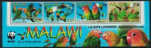 Malawi WWF Lilian's Lovebird 'Agapornis lilianae' 4v Strip WWF Logo SG#1041-1044
