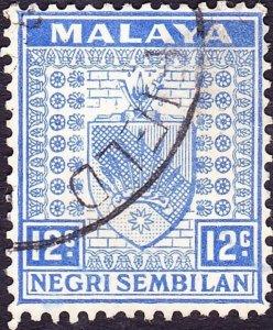 MALAYA NEGRI SEMBILAN 1936 12c Bright Ultramarine SG31 Fine Used