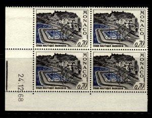 Monaco 1969 Rainer III Aquatic Stadium Stamp PB 4 Stamps Scott 734 MNH with Date