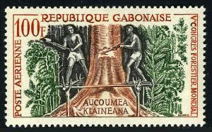 Gabon C2, MNH. 5th World Forestry Congress. Workmen felling tree, 1960