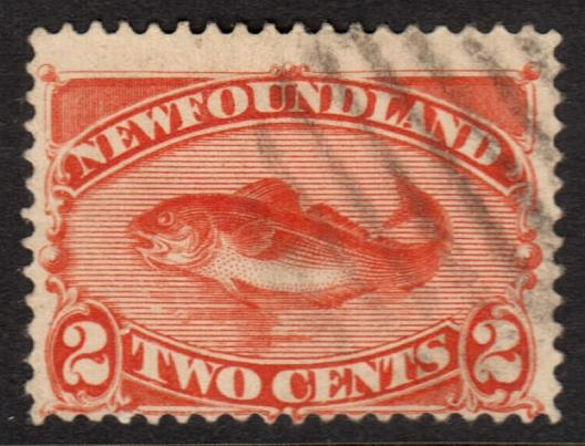 Newfoundland QV 1887 2c Orange-Vermilion SG51 Used