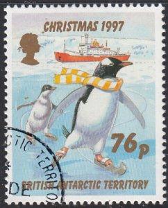 British Antarctic Territory 1997 used Sc #252 76p Penguins skating Christmas