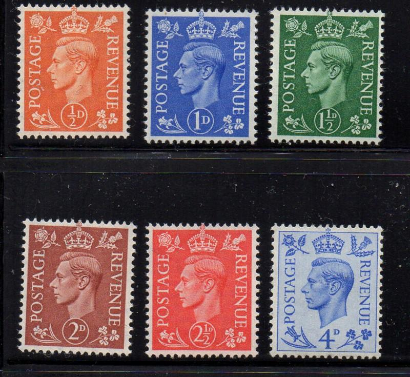 Great Britain Sc 280-85 1940 G VI stamp set mint NH